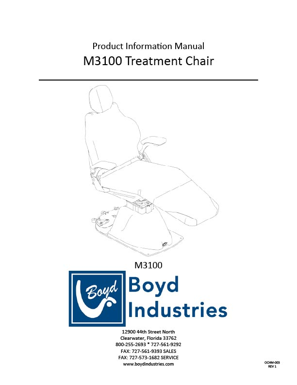 S3100lc Endo Chair Product Manual Boyd Industries